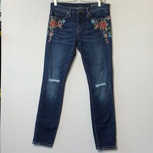 Blank NYC Dark Wash Embroidered Skinny Jeans